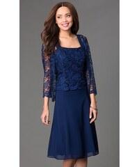 Glamor Tmavomodré společenské šaty s krajkovým kabátkem 7d551b8d5fa