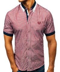 7529ba3609fb Vínová pánská elegantní kostkovaná košile s krátkým rukávem Bolf 4501