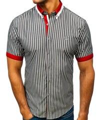 Šedá pánská elegantní kostkovaná košile s krátkým rukávem Bolf 4501 3973c87906