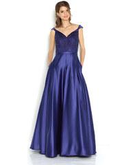 19abdcdcab9 Jora Collection Společenské modré šaty se zdobeným živůtkem Jora Damaris M