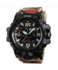2622fd0ea Sportovní hodinky GTUP 1050 Shock resist khaki army s duálním časem