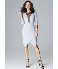 2b57b89769d4 LENITIF Šedé šaty s výstrihom zo sieťoviny L012