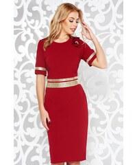 StarShinerS Burgundy elegáns ruha szűk szabás enyhén rugalmas anyag  csillogó kiegészítők 3ab99d4585