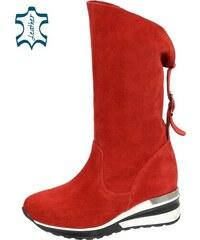 OLIVIA SHOES Červené čižmy s prackou na vyššej športovej ANGEL podošve  DKO2021 b851d3181e2