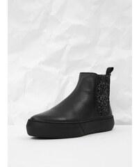 345de27ac Čierne kožené chelsea topánky na platforme s trblietavým detailom Frau  Ferrer