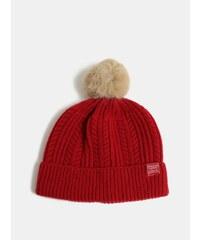 43505c771 Červená dámska vlnená čiapka s brmbolcom Tom Joule Cable