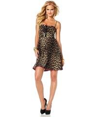Melrose, šaty s leopardím vzorem a krajkou 34 hnědá