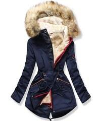 MODOVO Dámska zimná bunda s kapucňou PO-303 tmavo modrá 0a5344d13ee