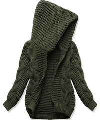 Dámský svetr s kapucí SWEK khaki cab865b800