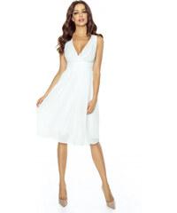 22c22af1df4 Kartes Elegantní šifónové šaty se sklady - bílé