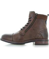 Tom Tailor Pánske škoricové kožené členkové topánky 5889303 5224111b325