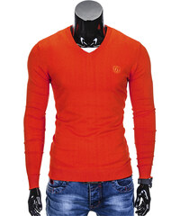 Ombre Clothing Pánský svetr s výstřihem do V Verel jasně oranžový 53ac7895f0