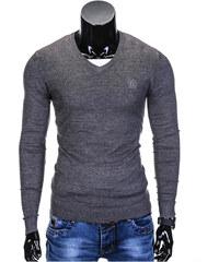 06cf2a0e367f Ombre Clothing Pánsky sveter s výstrihom do V Verel grafitovo žíhaný