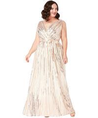 1d634f619e3e Krémové společenské šaty s flitry City Goddess Afrodita