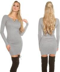 8a766997c03d Pletené šaty s výstřihem do V Koucla šedé