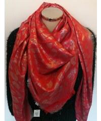Dámský lesklý červený šál s leopardím vzorem 5f44a5a294