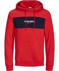Jack Jones Pánská mikina Jorjosh Sweat Hood Fiery Red Reg 51b29118ab