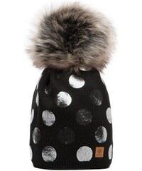 Černá čepice Woolk s melírovanou bambulí a stříbrnými puntíky 6a253e7b63