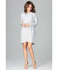 224068e392c3 Úpletové šaty Lenitif K467 šedé