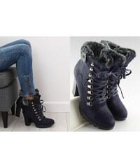 f7fbe73b02c BELER Kotníkové boty na podpatku s kožíškem Marissa granátové