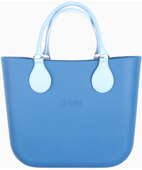 O bag modrá kabelka MINI Cobalto s bílými krátkými koženkovými držadly 8724e451275
