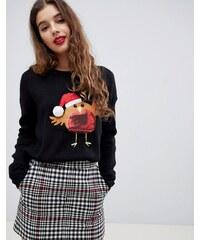 Brave Soul christmas jumper with sequin robin applique - Black 8e80053d95