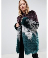 Urbancode faux fur coat in tri colour - Grey red teal f265be89fa