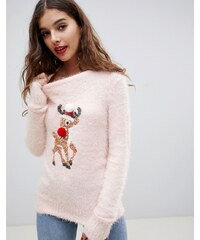 Brave Soul fluffy christmas jumper with sequin reindeer - Pink 08ab3a6f28