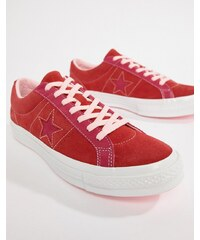 Converse One Star Ox Plimsolls In Red 161613C - Red 11bc39b20d
