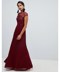 Chi Chi London lace embroidered top maxi dress with pleated skirt in wine -  Wine ed2452df06