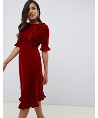 7b141f81483e ASOS DESIGN velvet midi dress with ruffles - Red
