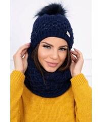 460ce0aa0 MladaModa Komplet - dámska čiapka s kožušinkovým brmbolcom + komín K119  farba námornícka modrá