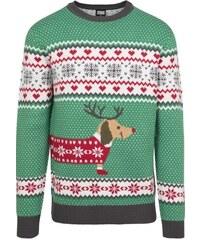 a20d802c84f7 Urban Classics Sausage Dog Christmas Sweater treegreen white red darkgrey