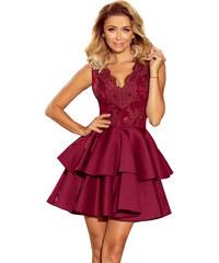 bd4c2bebfbc numoco Společenské dámské šaty s dvojitou sukní bez rukávů bordó