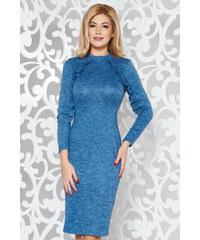 12769f89b5 Kék StarShinerS hétköznapi ruha szűk szabás kötött anyag fodros