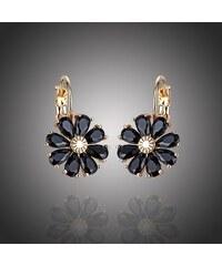 Sisi Jewelry Náušnice Swarovski Elements Fiore Gold Night - květina 8fa70b93c1d