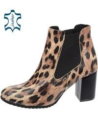 ce675170f709 OLIVIA SHOES Kotníkové čižmy na vyššom podpätku s leopardím vzorom K-741