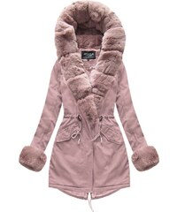 The SHE Ružová zimná parka s kožušinovým lemom ce232bcacaf