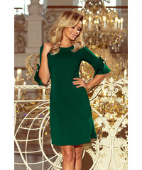 21fc5bbf6d80 NUMOCO Zelené šaty s volánmi na rukávoch 217-2