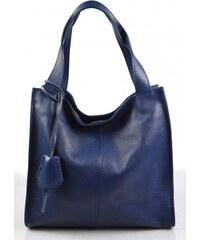 dd12a41697bd Kožená luxusní sytě modrá kabelka přes rameno darci VERA PELLE 26084