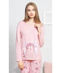 8372d227b75 Vienetta Secret Dámské pyžamo dlouhé Kotě s čepicí - světle lososová