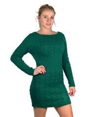 MADE IN ITALY Dámské svetrové úpletové šaty zelené b5d49244d7