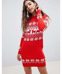 Bravesoul Vánoční svetr šaty Brave Soul Fairisle Xmas Červené fb46a912b4