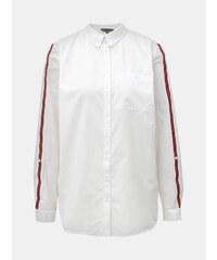 927382938b Biela košeľa s náprsným vreckom a červenými pruhmi na rukávoch Dorothy  Perkins Tall