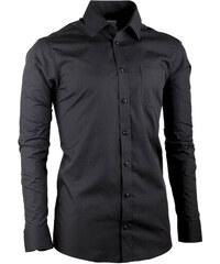 13126215acf0 Predĺžená pánska košeľa slim fit čierna Aramgad 20100