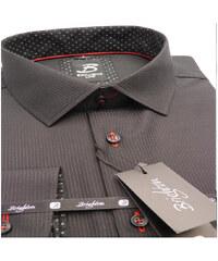 edbd9b6e4baf Čierna pánska košeľa dlhý rukáv vypasovaný strih Brighton 109974