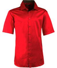e0af54e18d5b Pánska karmínová košeľa slim krátky rukáv 100% bavlna non iron Assante 40341