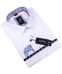 20b00db21826 Biela košeľa s modrým vzorom pánska slim fit Brighton 109901