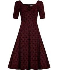 5f237f3a6f0 COLLECTIF Dámské retro šaty Dolores Brocade vínové