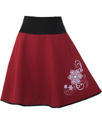 Radka Kudrnová Vínová půlkolová sukně s výšivkou d50953f766